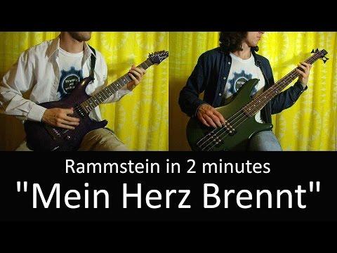 26) Rammstein - Mein Herz Brennt (Guitar & Bass cover + TAB   lesson HD)