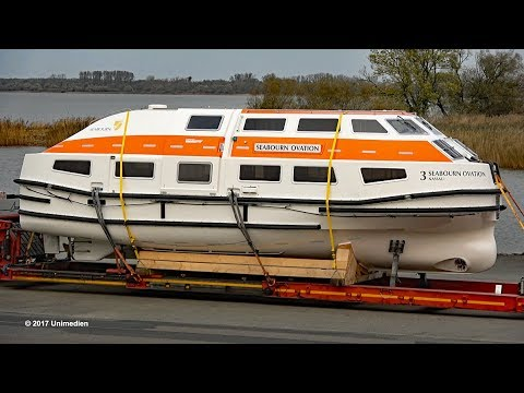 SEABOURN OVATION | tender and life boat ready for transport to shipyard | 4K-Quality-Video