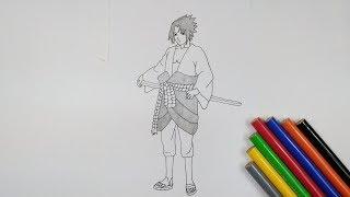 Cara menggambar Sasuke uchiha dari (NARUTO) dengan mudah dan cepat