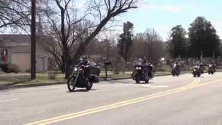 Motorcycle funeral procession for Emily Elkins