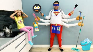 Sofia and Fun Story as Dad became Superheroes and Helps Kids
