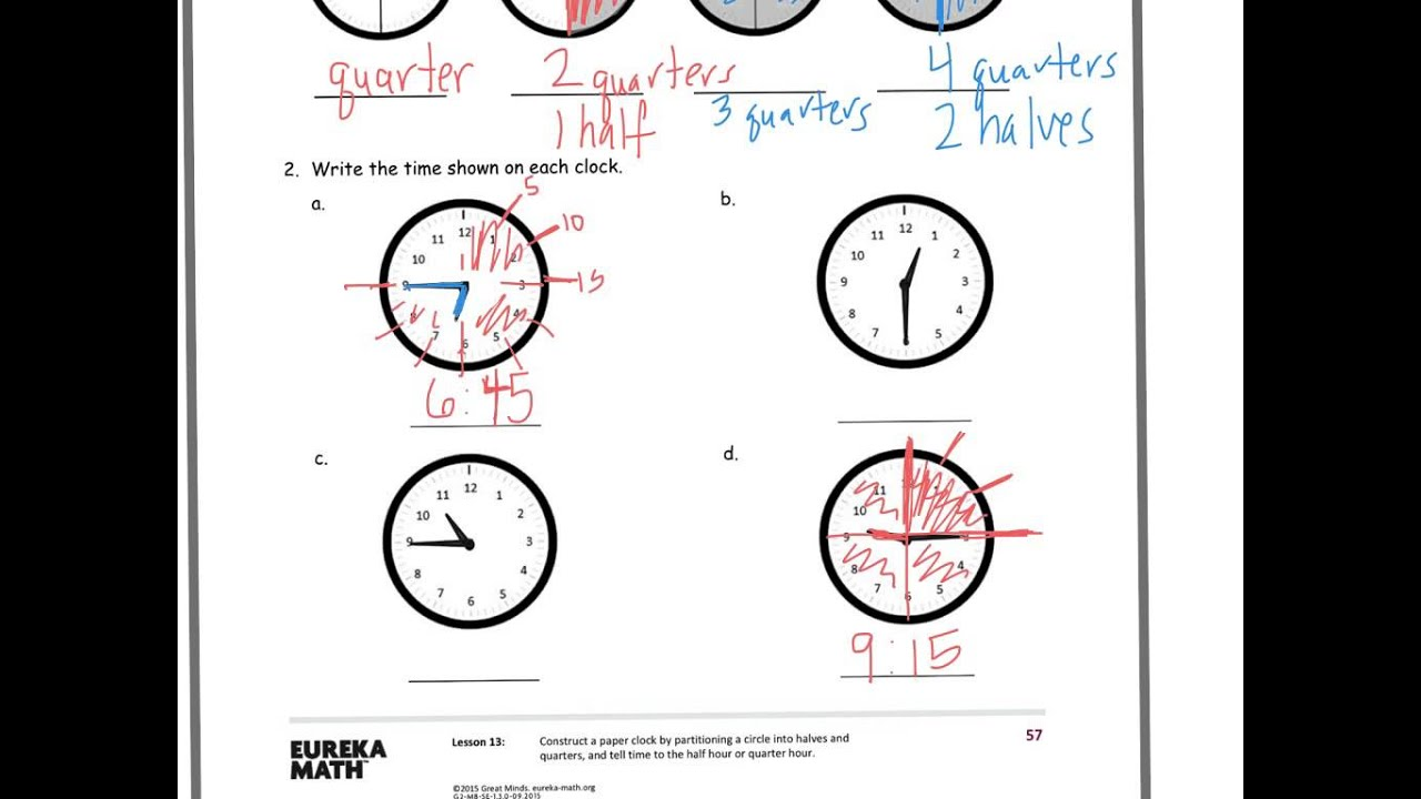 hight resolution of Application of Fractions to Tell Time (solutions