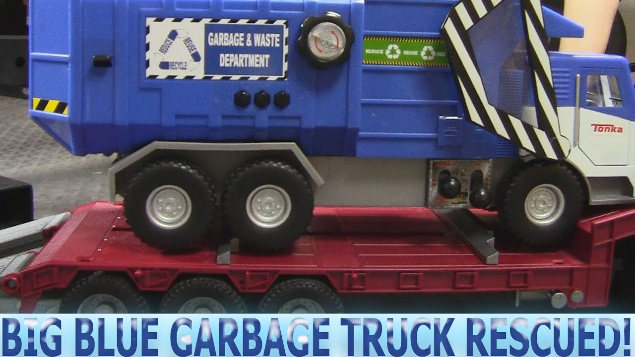 Garbage Truck Video Big Blue Truck Needs Help Youtube