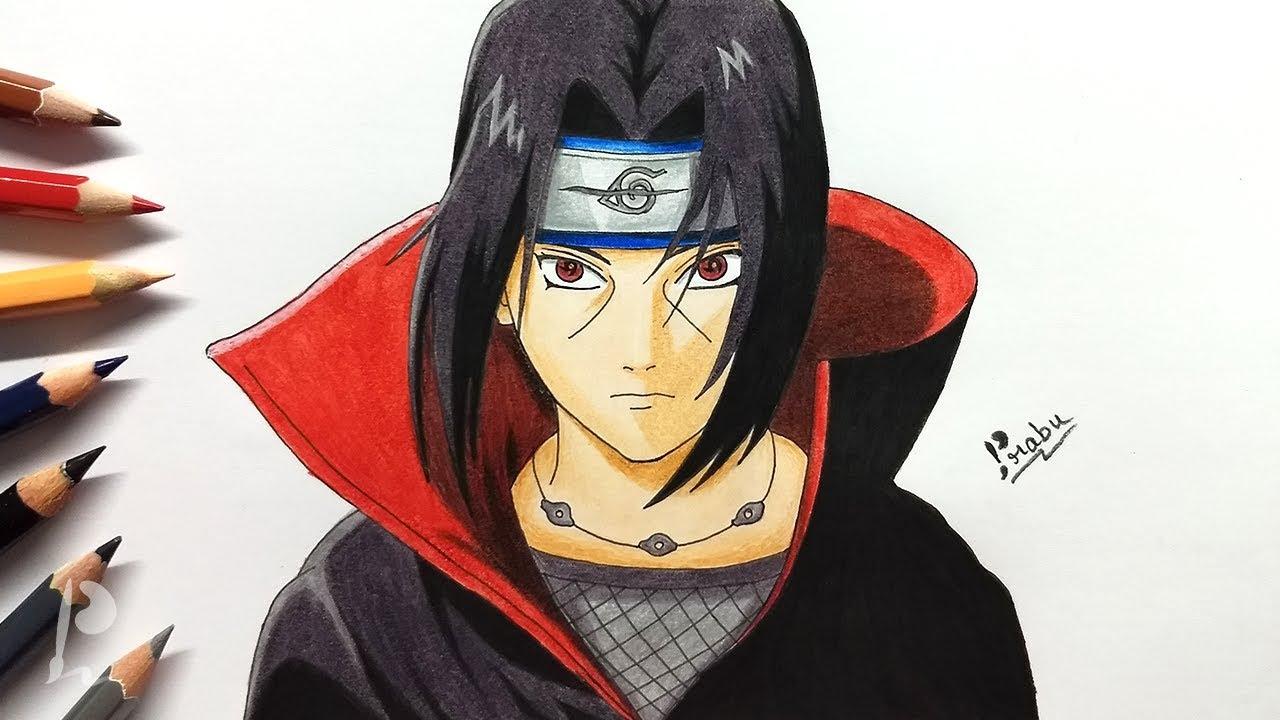 Drawing Itachi Uchiha With Colour Pencils Naruto Budget Art Youtube
