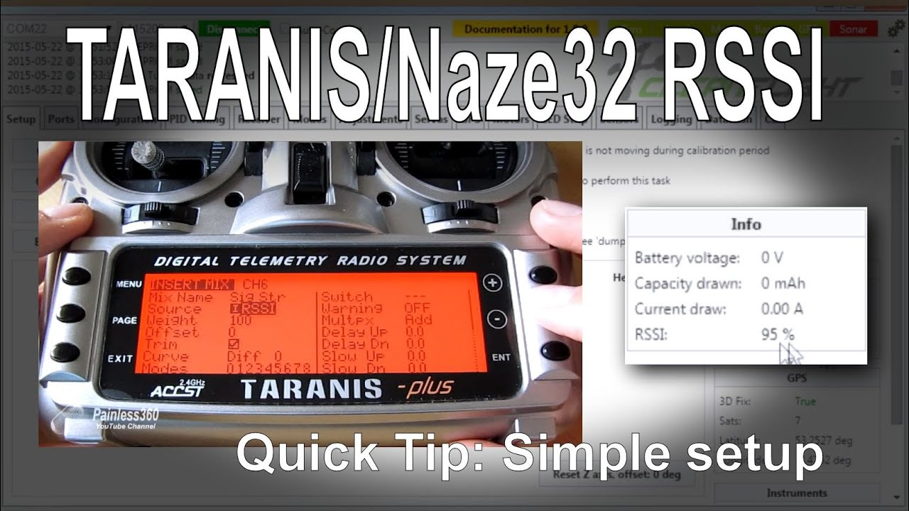 FrSky TARANIS/Naze32/Cleanflight Quick Tip - Setting up RSSI for an on