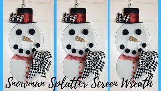 Snowman Splatter Screen Wreath DIY