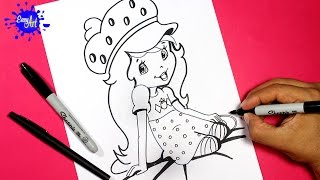 how to draw Strawberry Shortcake l Como dibujar a fresita rosita