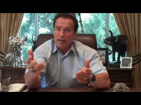 Arnold Schwarzenegger wields a knife while talking about budget cuts in twitter video