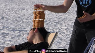 Secretly Putting a Whole Loaf of Bread on People's Heads