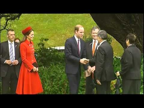 Welcome Ceremony to Kate Middleton Prince William and George in New Zealand