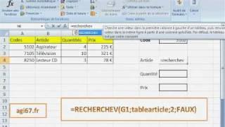 Excel fonction RECHERCHEV