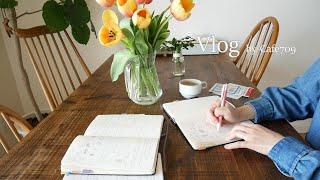Cafe709 Vol.39  4월의 시작.튤립있는 날들.아보카도와 스무디 아침.모닝커피.세탁하는 날들.영양제 정리