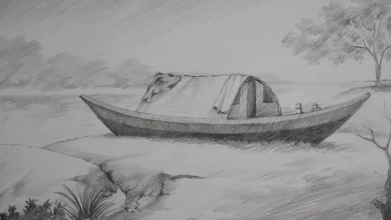 Pencil shading tutorial how to draw a boat a riverside landscape