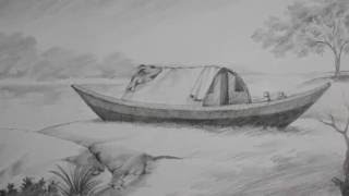 Pencil Shading tutorial | How to Draw A Boat & a riverside landscape