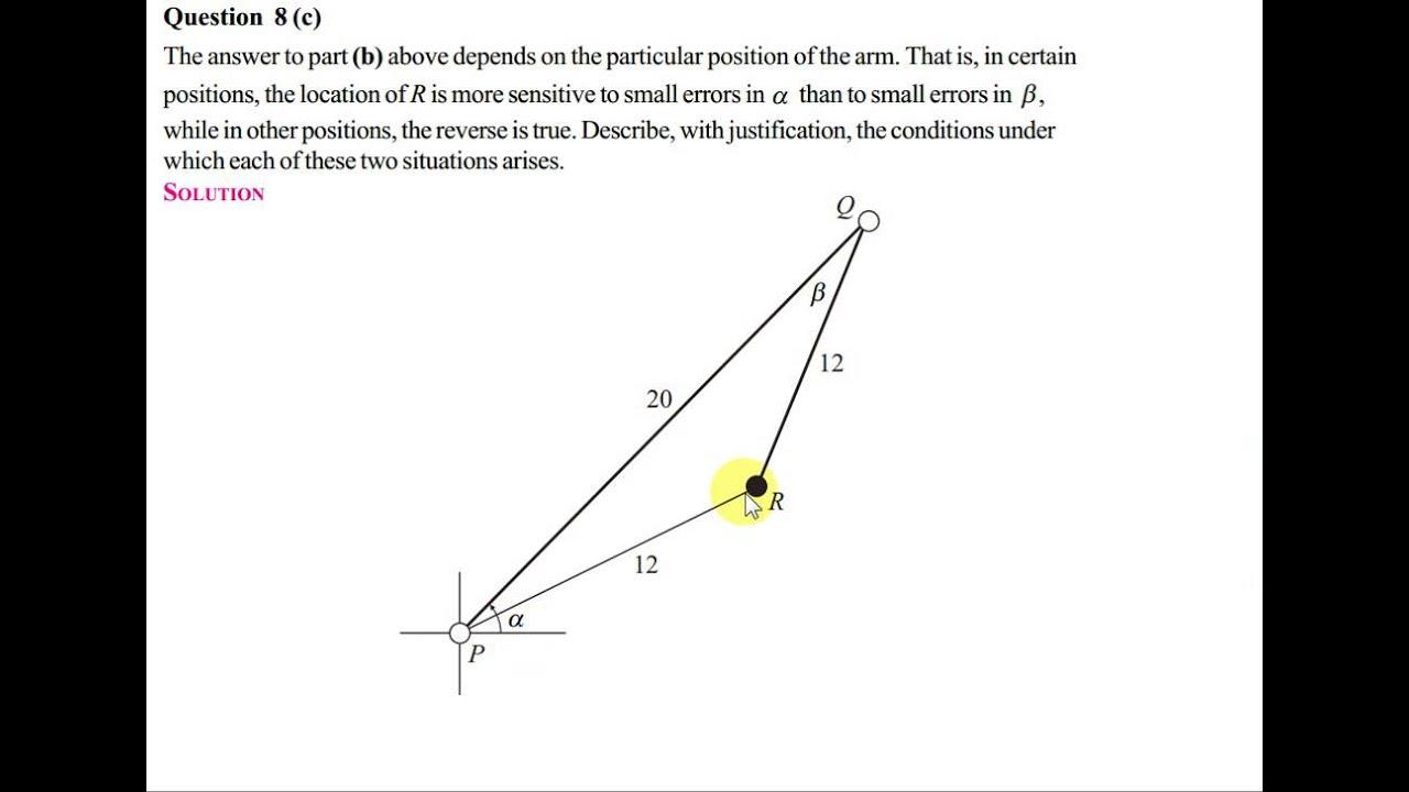 Q8 Trigonometry - Robotic Arm (Project Maths HL 2012 Sample Paper 2)