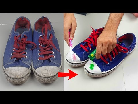 How to Clean Shoes with Toothpaste - Hacks for Keeping Shoes White - Toothpaste Life Hacks