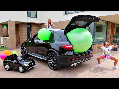 Thumbnail: Giant Balloon Stuck In Our Car - Surprise Toys For Kids - Shopkins - Kinder Surprise Disney Toys