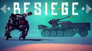Besiege - Running Robotic Weaponized Dog, 8.8 cm Flak 37 Sfl & More! - Besiege Best Creations