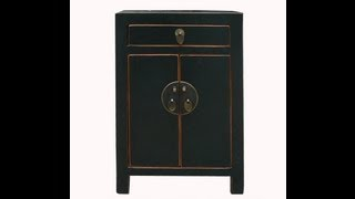 Black Lacquer Chinese Moon Face Nightstand End Table Cabinet Wk2558