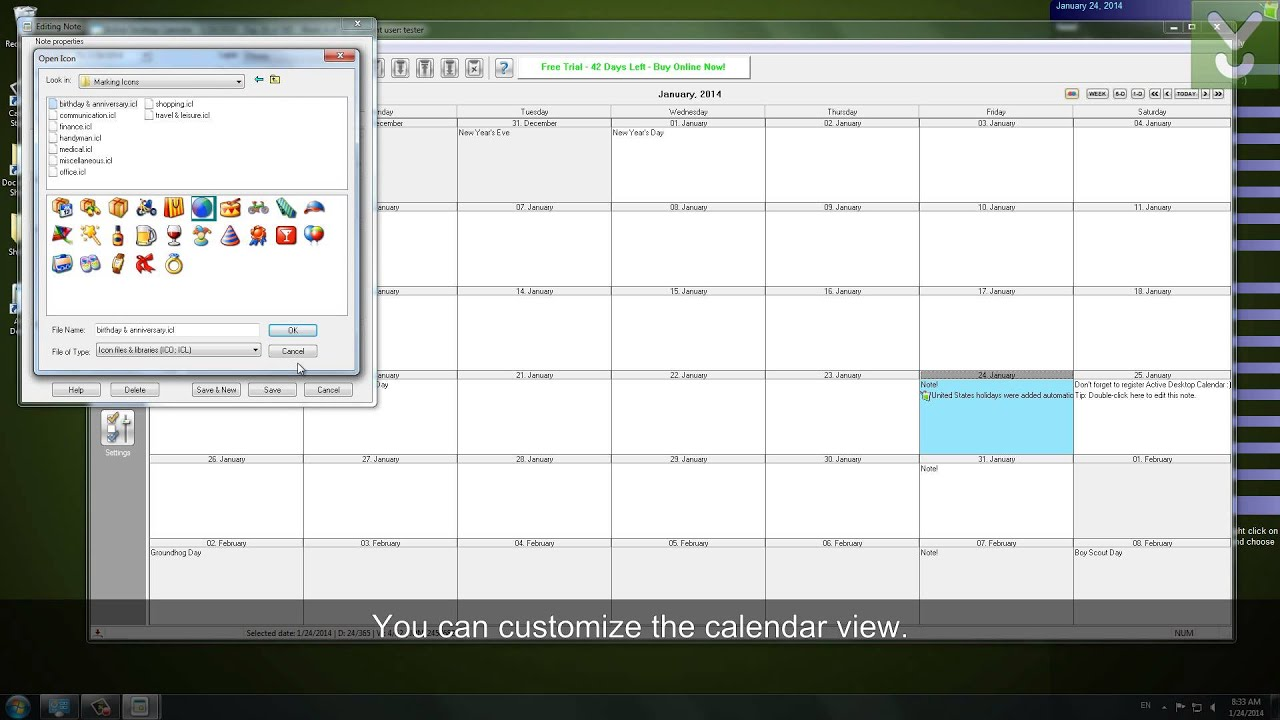 Calendar Wallpaper Program : Active desktop calendar set a customizable as