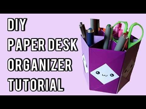 DIY HEXAGON PAPER PEN HOLDER TUTORIAL|Desk Organizer Idea|
