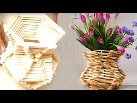 How to Make Flower Basket With Ice Cream Sticks || HD
