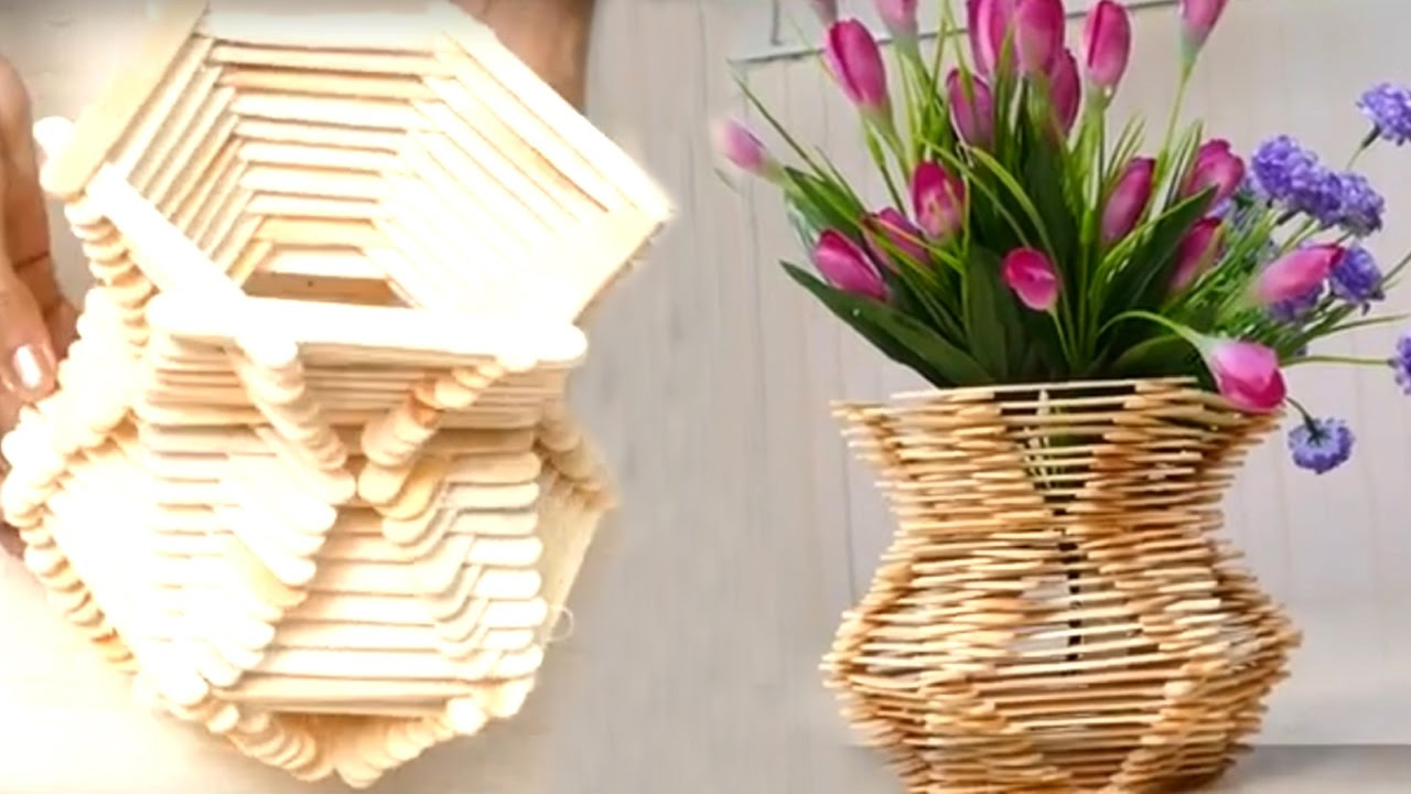 also how to make flower basket with ice cream sticks hd youtube rh