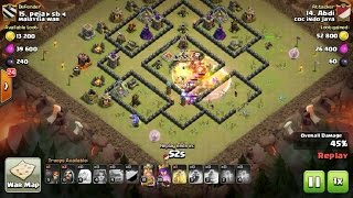 Tips Clash Of Clans TH 9: meratakan (3 star) base war type 60 menggunakan trops GoHealVaWiz