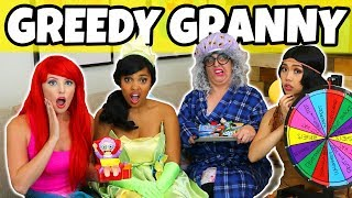 GREEDY GRANNY IN REAL LIFE CHALLENGE. (We Play Ariel vs Pocahontas vs Tiana)
