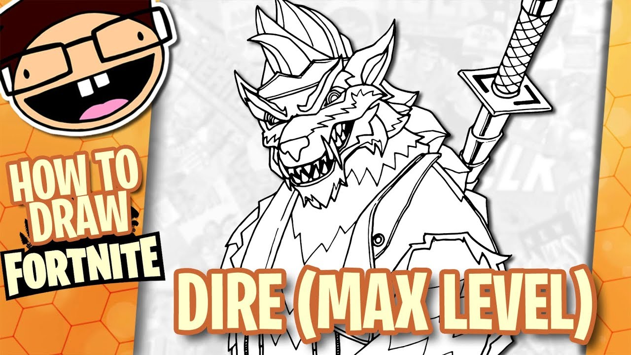 How To Draw Max Level Dire Fortnite Battle Royale Narrated Easy