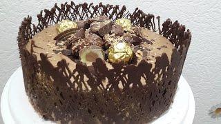 Goldene Schokotorte/zweierlei Mousse au chocolat/Nougatsahne/Rochertorte