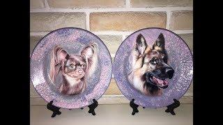 Новогодний декупаж тарелки к году Собаки. Diy.