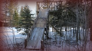 Homemade Toboggan Slide - Made From Pine Logs And Used Plywood Diy