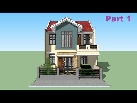 Sketchup tutorial house design Part 1 - YouTube