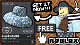 FREE ACCESSORY! HOW TO GET Gucci Denim Wide Brim Hat! (ROBLOX GUCCI GARDEN EVENT)