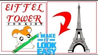 Pk How to draw EIFFEL TOWER  Step by step tutorial