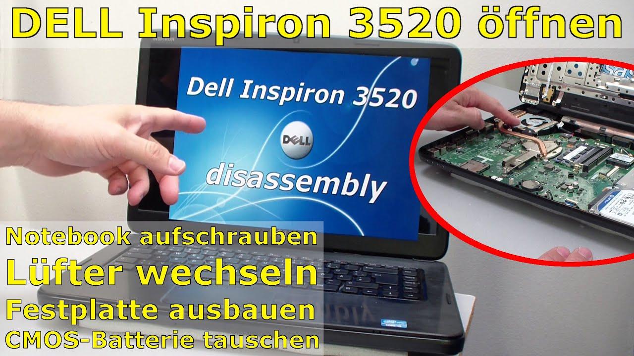Dell Inspiron 3520 Notebook Lüfter reinigen Festplatte + Batterie ausbauen