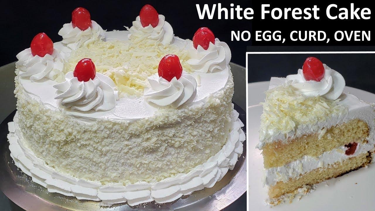 बिना अंडा बिना दही  Soft and Spongy White Forest Cake   Birthday Cake   Eggless White Forest Cake