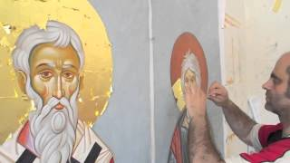 Byzantine iconography.The Gilding process. Icons of St. Michail of Kiev and St. Andrew.