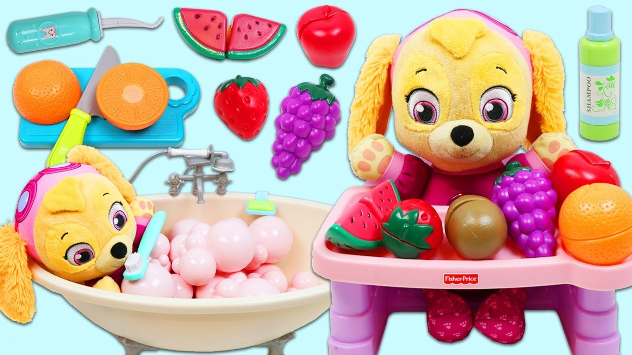 Download Paw Patrol Pup Baby Skye Morning Routine of Bath Time and Toy Fruit Breakfast!