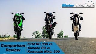 ktm rc 390 vs yamaha r3 vs kawasaki ninja 300 comparison review   motorbeam