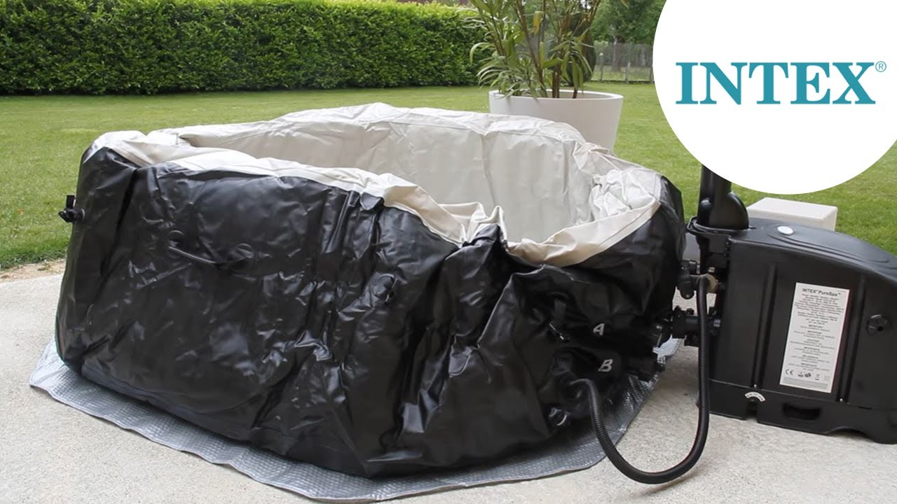 Gonflage Du Spa Gonflable Intex 28454 Bulles Jets 4 Places Youtube