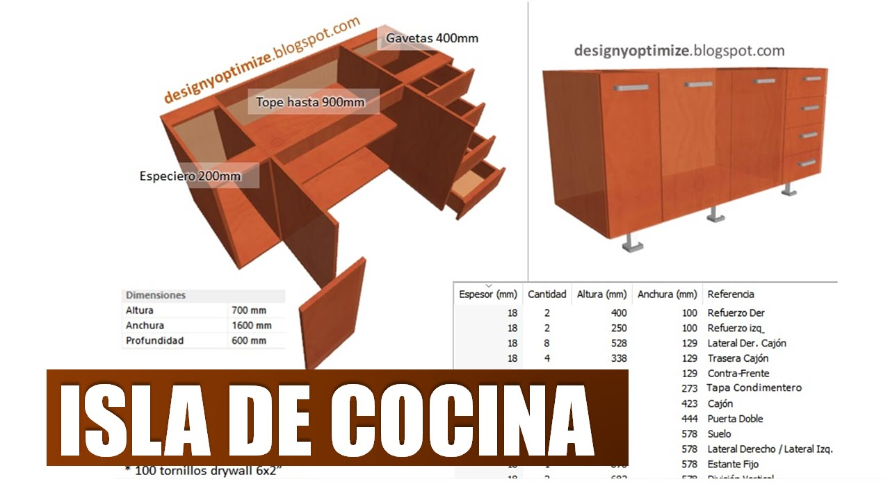 Construir isla de cocina dise o y fabricaci n youtube for Medidas estandar isla cocina
