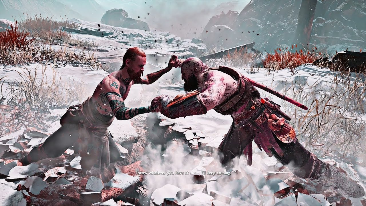 "God of War - Kratos Fighting ""The Stranger"""