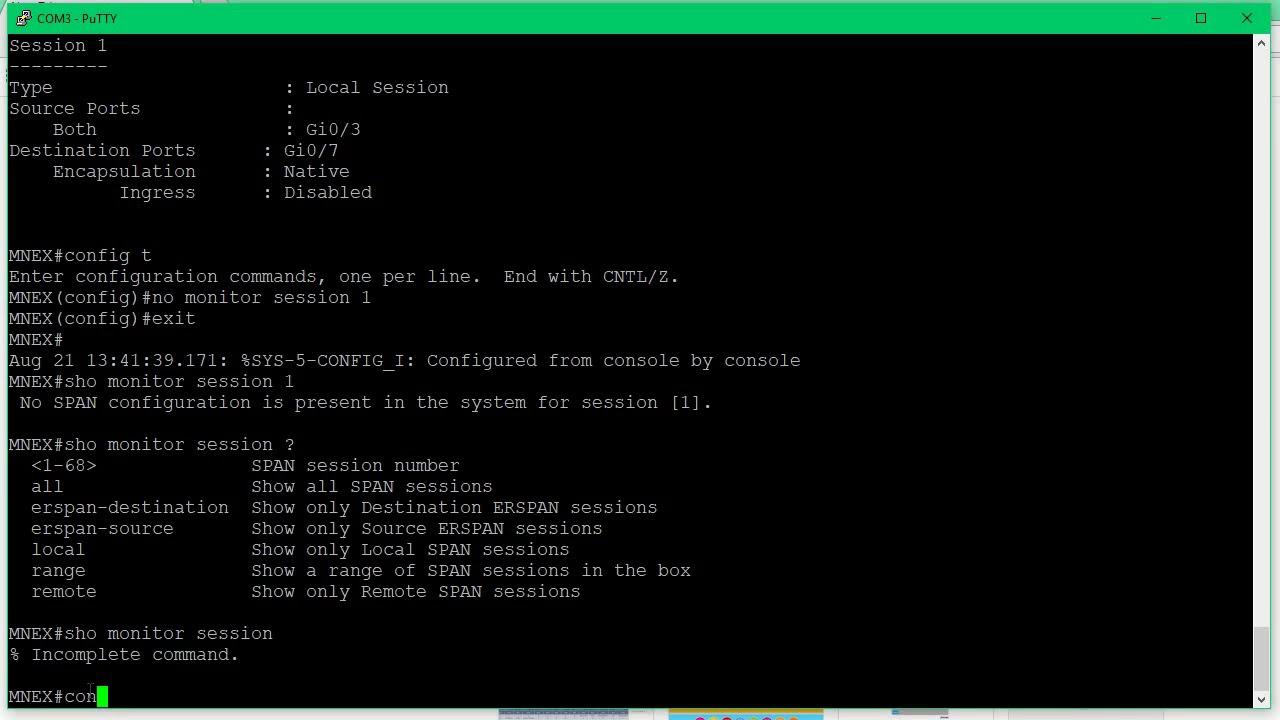 Cisco Switch Port Mirroring / Monitor Port Setup