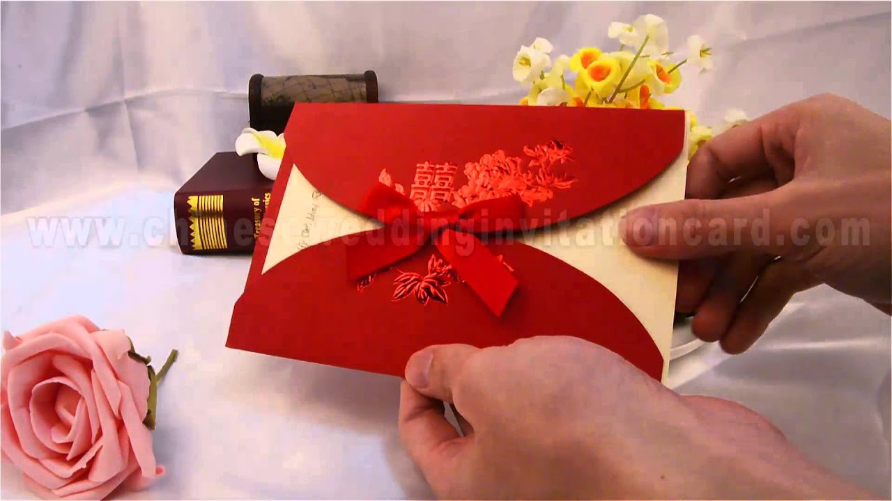 Latest version wedding invitation card with red ribbon - YouTube