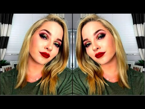 Holiday Gold Glitter Glam Drugstore Makeup Tutorial