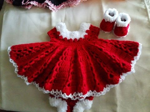 CHRISTMAS Special Crochet Red BABY FROCK Designs - YouTube