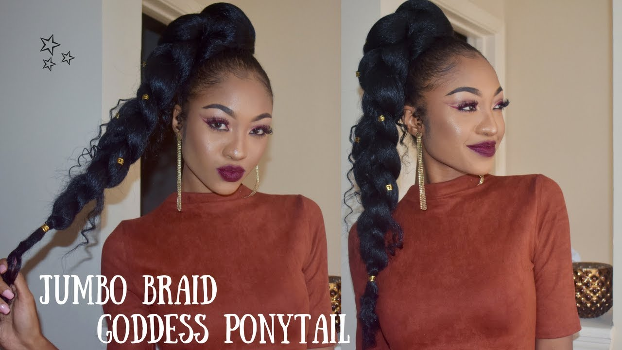 jumbo braid goddess ponytail on natural hair no heat disisreyrey