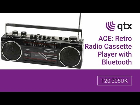 120.205UK - Ace: Retro Radio Cassette Player with Bluetooth and MP3 Playback